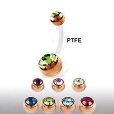 PTFE Stab Bauchnabel Piercing mit Rose Gold Doppel Kristall Kugeln kürzbar!
