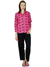 Bimba Womens Traditional Sleepwear PJ Pyjama Set Night Wear Ladies Cat Print