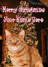 A5 Personalizzato GINGER CAT ALBERO DI NATALE CARTA qualsiasi nome Natale pidxm662