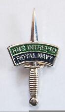 HMS INTREPID ROYAL NAVY LAPEL PIN OR WALKING STICK MOUNT