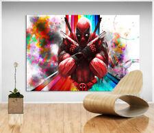 Deadpool Artwork Rot Schwarz Wandbild auf Leinwand Keilrahmen 130x90cm