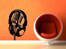 Headphone Microphone Music Dj Retro Studio Decor Art Vinyl Wall Sticker Bedroom