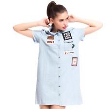 NEW  Women's   Denim  Dress Shirt Label patch short-sleeved shirt Stand collar