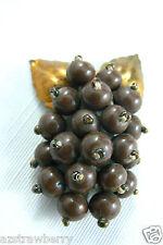 Vintage 1930' Brown Beaded Grape Gold tone leaf pin brooch dress scarf clip $0sh