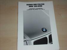38258) BMW 3er Reihe E36 - Farben & Polster -  Prospekt 1991