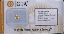 GIA Cert 0.51ct CUSHION cut diamond NATURAL FANCY DEEP BROWNISH ORANGY YELLOW