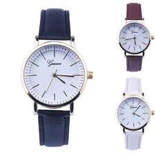 Ladies Fashion Geneva Gold Quartz White Face Leather Band Wrist Watch.
