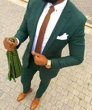 Men Dark Green Slim Fit Suit Tuxedos Groom Wedding Dinner Party Prom Suit Custom
