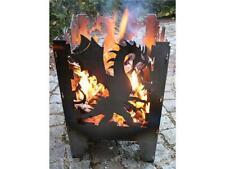 Feuerkorb Drache mit Grillrost und Aschblech Feuersäule Lichtspiel Feuerschale