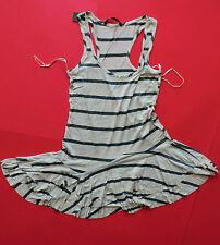 Ladies Black Striped Beige Summer Mini Dress Top in sizes 8 10 12 14 & 16