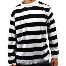 CHILD BLACK WHITE LONG SLEEVE STRIPED TOP FANCY DRESS COSTUME FRENCH BURGLAR