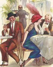 Fred Spurgin Artist Signed Victorian Hat Cafe Our Hands Have Met Postcard
