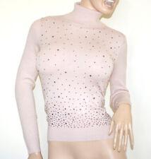 MAGLIONE COLLO ALTO ROSA donna maglietta dolcevita sottogiacca manica lunga A39