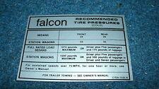 1967 FORD FALCON FACTORY TIRE PRESSURE DECAL STICKER
