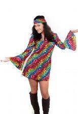 70er Jahre Hippiekostüm Damen Kleid Flower Power Schlager Outfit Frau