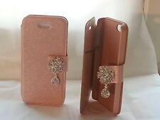 DIAMOND FLIP LEATHER CUSTODIA per iPhone 5 / peachpuff