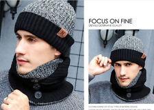 Winter Warm Scarves Gloves Hat Set Beanie Crochet Hat Knitted Button Neck Shawl