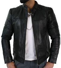 Mens Genuine Real Leather Black Biker Jacket Retro Vintage Tailored Fit UK