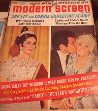 Modern Screen Magazine June 1968  Liz Taylor, Connie and Eddie, Jackie Kennedy