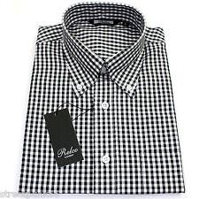 Relco Para Hombre Negro Blanco con cuadros gingham en Camisa Manga Corta Botones Mod Piel Retro