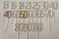 DIAMANTE NUMBERS Cake decoration topper PICK Jewel rhinestone SILVER SPARKLY