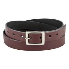 """Burgundy Skinny Real Leather Belt Handmade Bright Maroon 3/4"""" Ladies 20mm"""