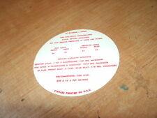 1969 AMC RAMBLER HURST SC RAMBLER TIRE PRESSURE DECAL