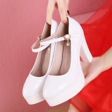 Ladies Womens Cow Leather Block Heel Platform Pumps Work Wedding Court Shoes New
