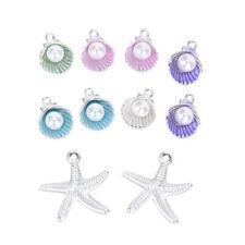 10Pcs/Set Enamel Shell Starfish Pearl Charms Pendant Beads DIY Jewelry Findings