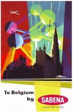 Cartel De Publicidad década de 1950 Sabena Belgian Airlines A3/A2 impresión