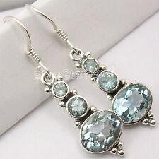 925 Silver BLUE TOPAZ WONDERFUL Dangle Earrings 3.8CM