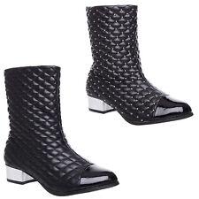 Mujer Damas Tacón Bajo Plano Invierno Acolchado de Moda Informal Botas al Tobillo Zapatos Talla