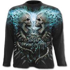 Spiral FLAMING SPINE Longsleeve T-Shirt Top, Goth Rock Biker Metal Tattoo Reaper