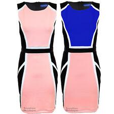 Womens Black Abstract Contrast Panel Sleeveless Smart Evening Bodycon Dress