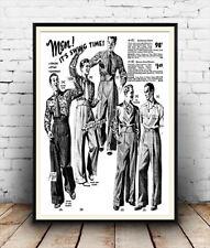 Men it's swing time  :  Vintage Men's clothing advert ,  Poster reproduction.