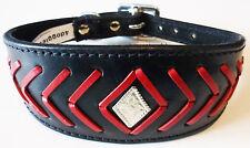 Black Leather Fish Stitch Saluki Collar Afghan Collar Whippet Dog Collar Brindle