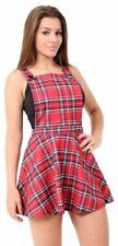 Womens Red Tartan Bib Pinafore Short Mini Bodycon Dungaree Ladies Skirt Dress