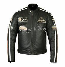 Giacche Giubbotto en Pelle Moto Uomo Giacca pelle Biker Jacket Custom S-5XL