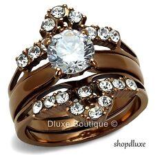 Stunning Round Brilliant Cut CZ Chocolate Wedding Ring Set Women's Size 5-10