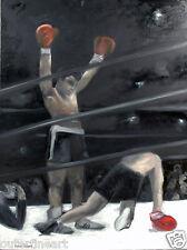 "Muhammad Ali vs. Oscar Bonavena ""Knock Out"" Oil Painting signed Cindy Shaoul"