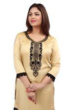 New Indian Designer Women NYLON SILK blouse tops Kurta Kurtis Tunics Beige Cream