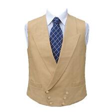 "Double Breasted Irish Linen Waistcoat in Sand 46"" R"