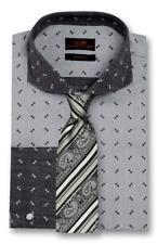 Dress Shirt by Steven Land Spread Collar Angled French Cuff -Black -TW1714-BK