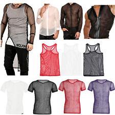 Mens Gym Training T-shirt Mesh See Through Clubwear Tank Crop Vest Shirt Tee Top