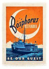 Vintage Turkish Istanbul Bosphurus Travel Poster A3/A2/A1 Print