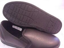 Mens Zedzzz Leather Look Shoe Style Slippers Black Brown VINYL WIPE OVER COMFORT