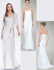 $510 Tadashi Shoji Ruched White Taffeta Strapless Gown Dress w/ Bolero Jacket