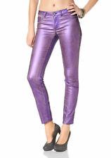 Laura Scott Damen Röhrenhose Hose Jeans Glanz Röhre Stretch lila 686180