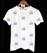 BLUE CRAB PATTERN T-SHIRT - VINTAGE PRINT - SWAG - FISH - PEAK CLOTHING - UNISEX