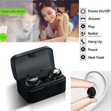 Black Mini Twins True Wireless Bluetooth Headset Earbuds Earpiece for Cell Phone